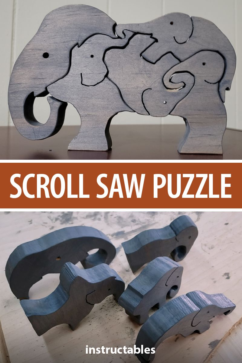 This simple children's elephant scroll saw puzzle can be created quickly (in only about an hour) and provides many hours of educational entertainment! #Instructables #workshop #woodshop #woodworking #carpentry #toy #game #kids #animal