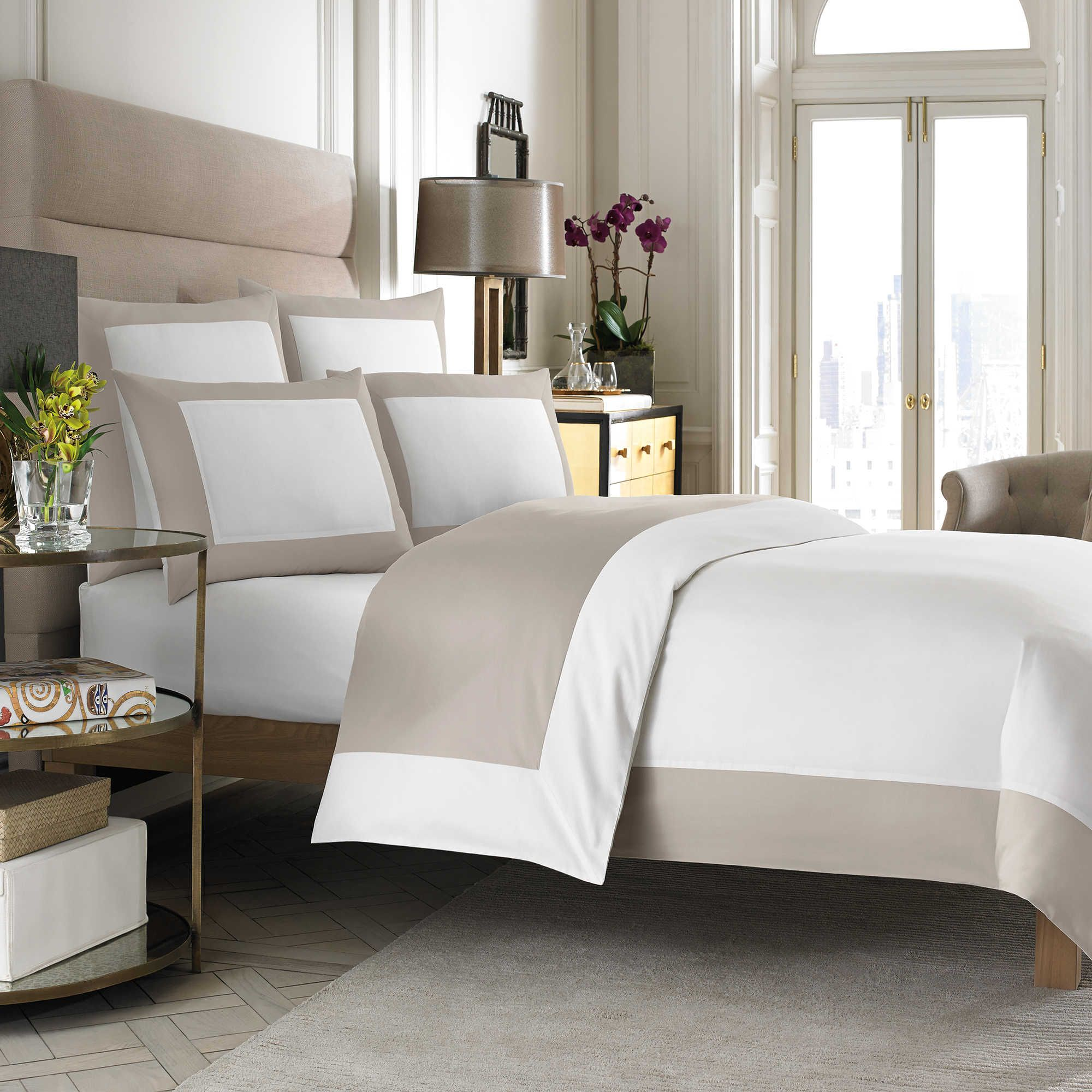 Wamsutta Hotel Micro Cotton Reversible Twin Duvet Cover In White Taupe Twin Duvet Covers