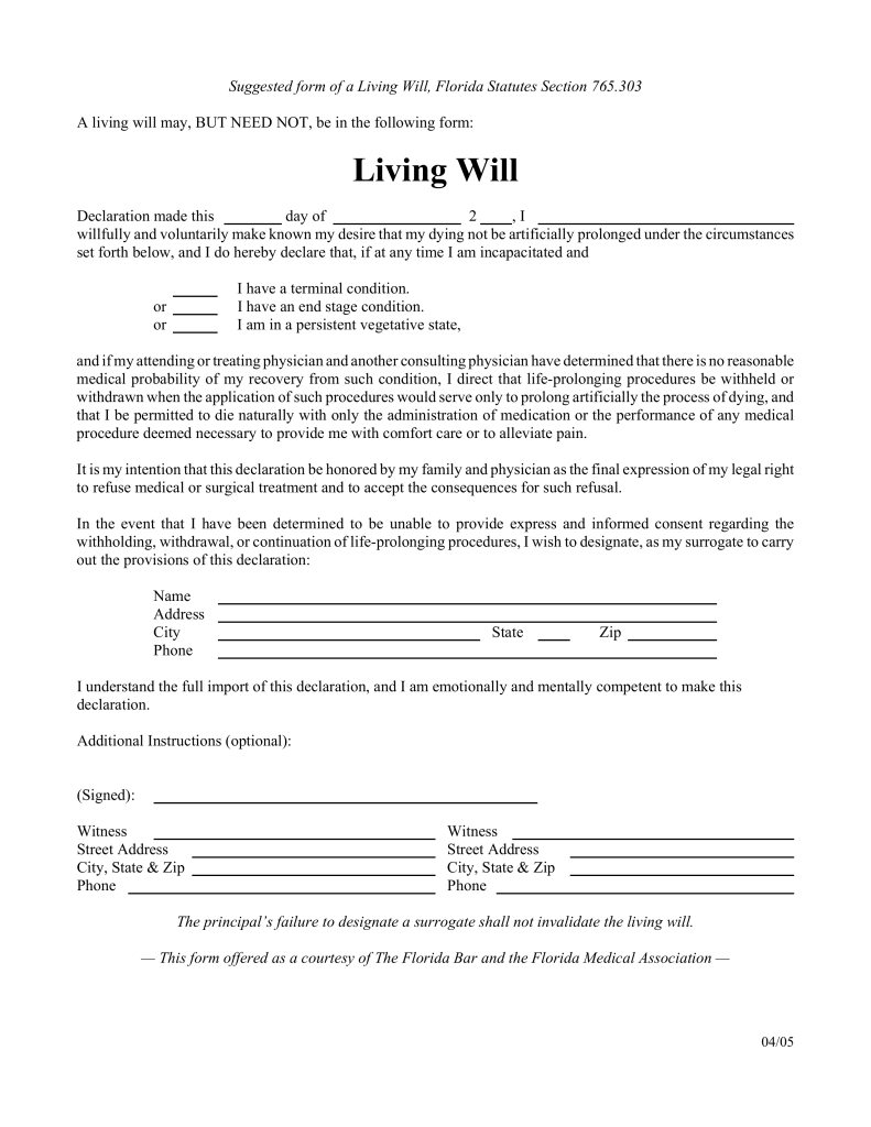 Living Will Form >> Free Florida Living Will Form Pdf Eforms Free Fillable Forms
