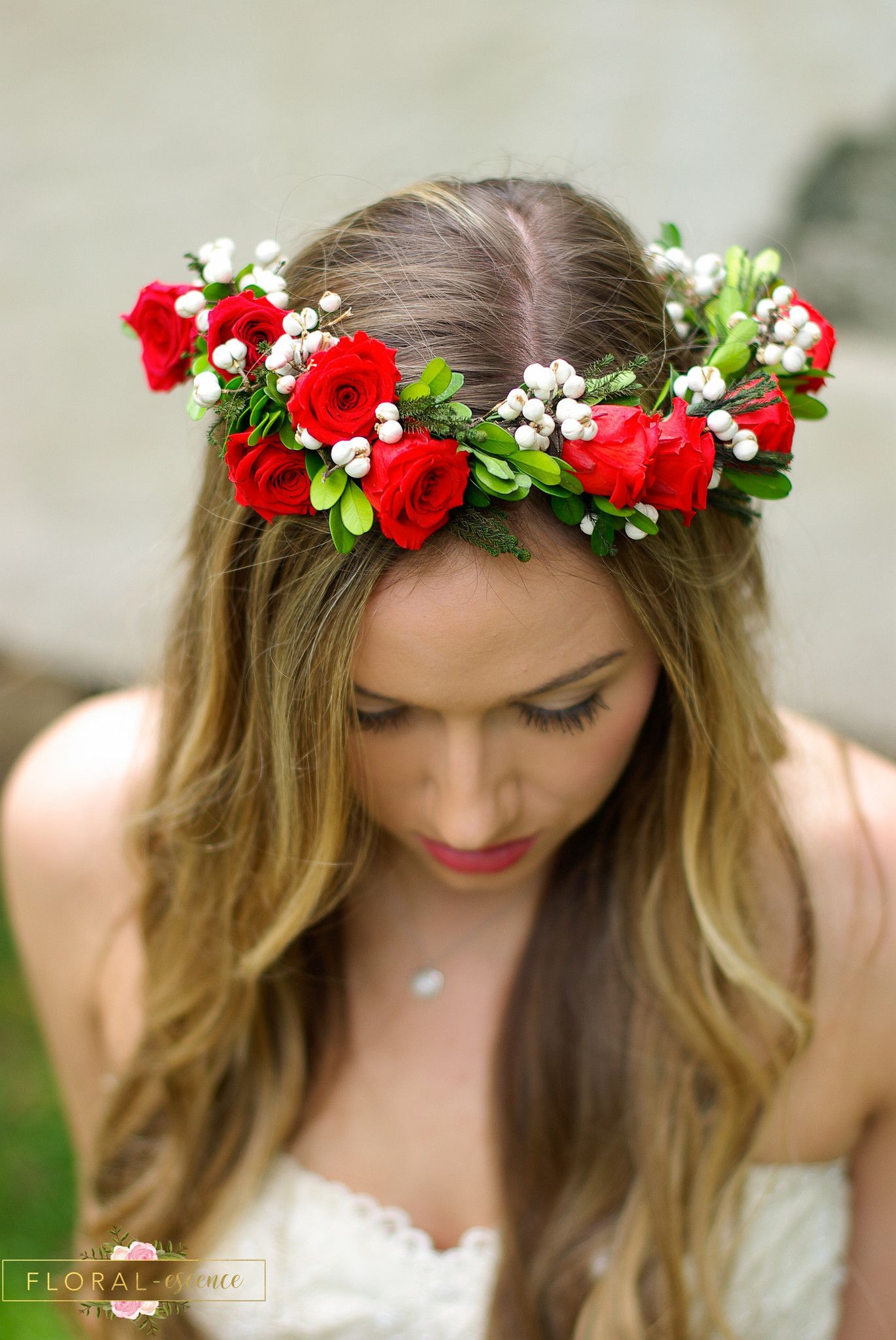 Gorgeous Red Rose Flower Crown With White Tallow Berries Is Perfect