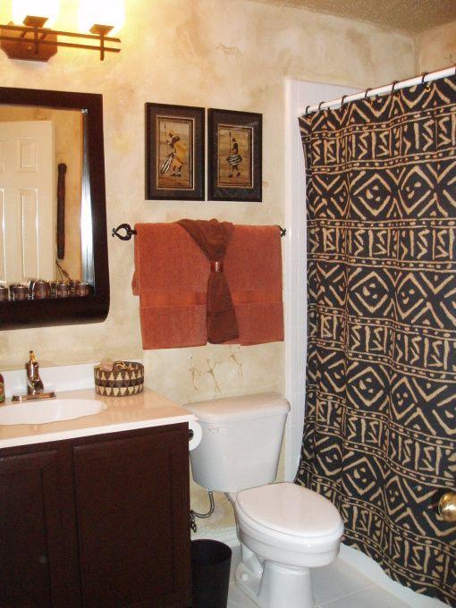 Guest Bath Featuring African Tribal Art African Home Decor