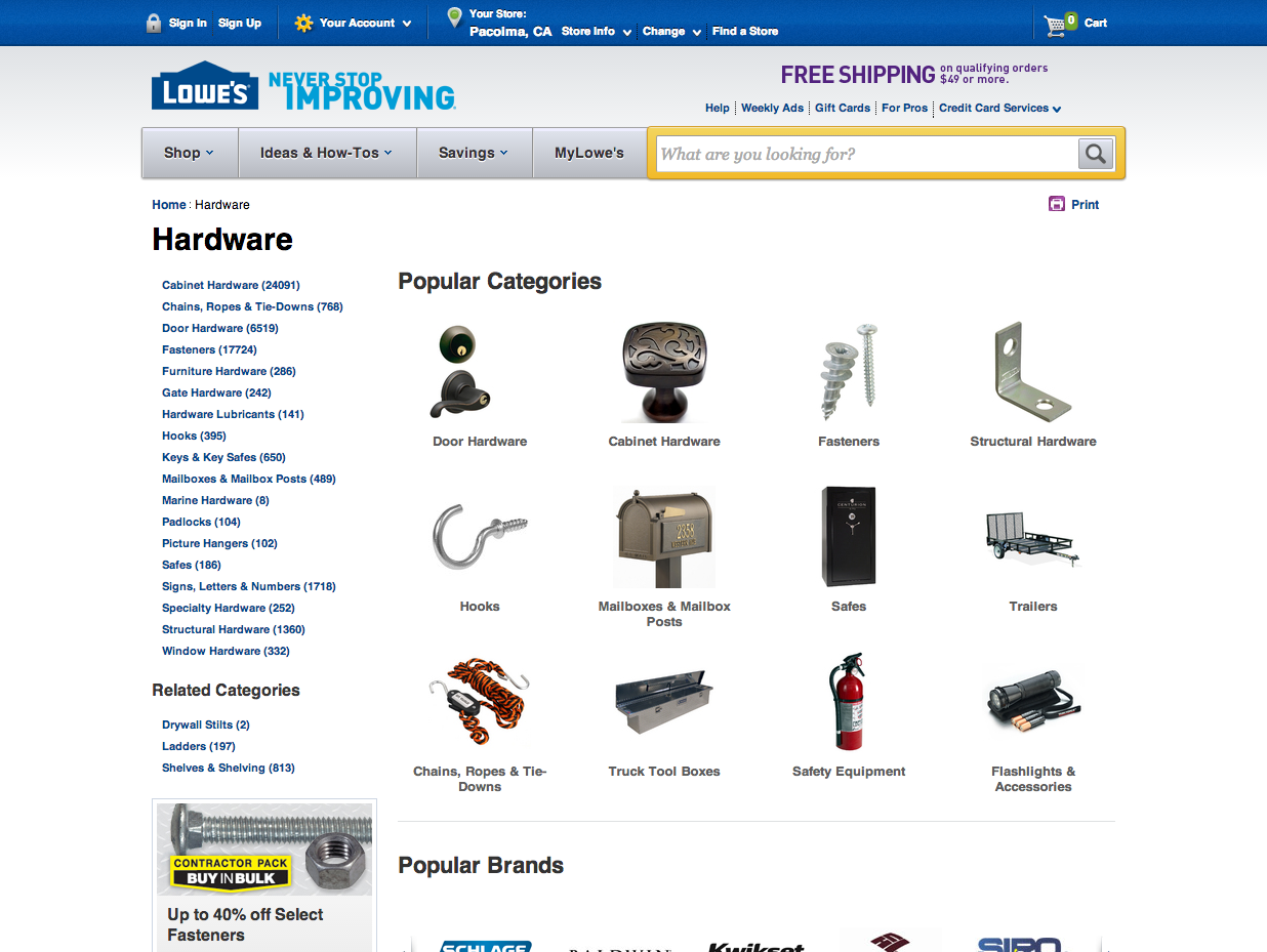 lowes.com category page
