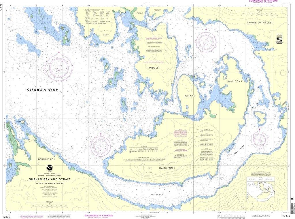 Noaa Nautical Chart 17379 Shakan Bay And Strait Alaska Nautical Chart Travel Map Pins Nautical
