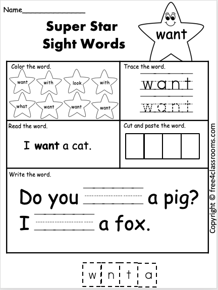 Free Sight Word Worksheet Want Free4classrooms In 2020 Sight Word Worksheets Sight Word Flashcards Kindergarten Worksheets Sight Words