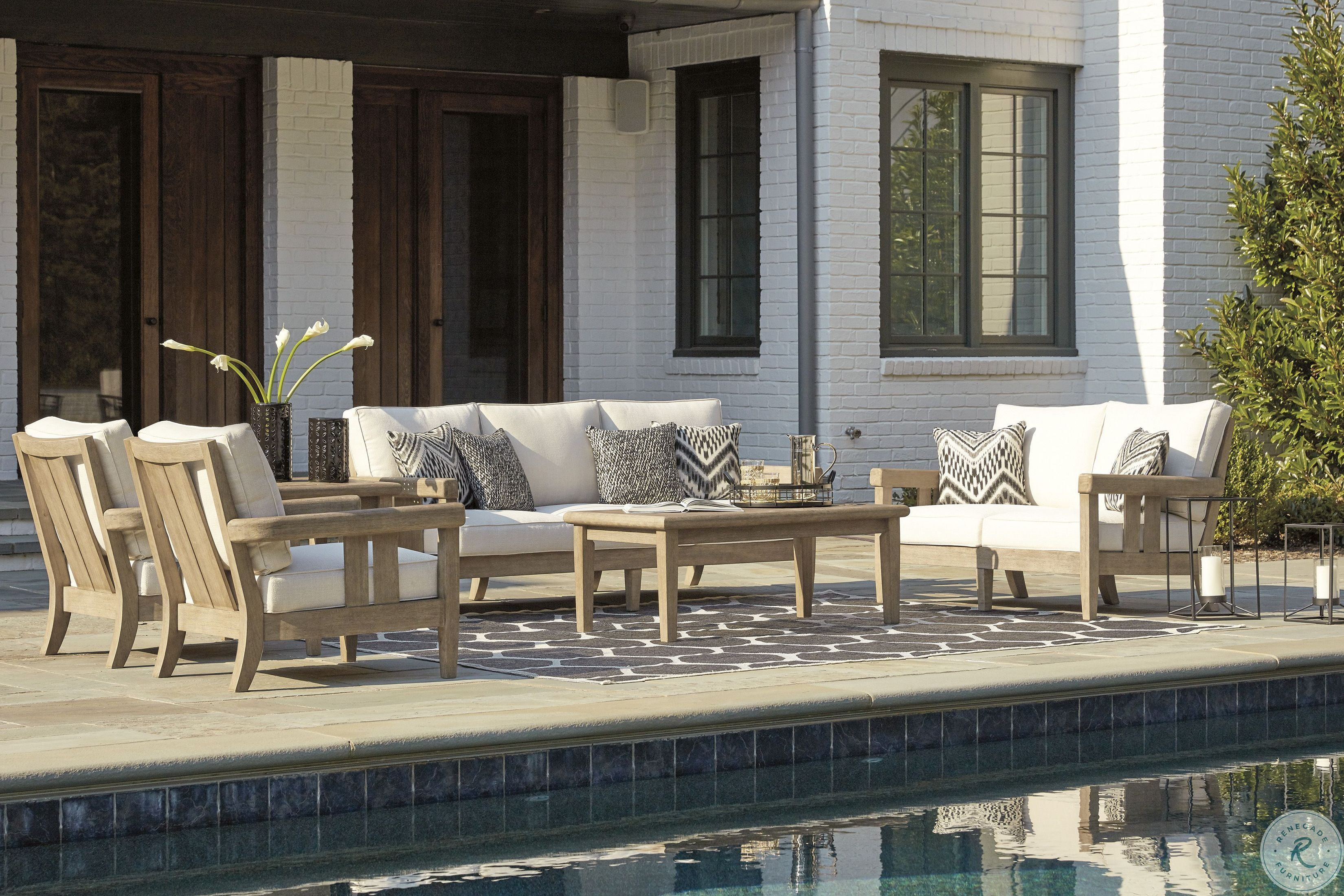 Clare View Beige Outdoor Living Room Set With Cushion In 2020 Patio Furniture Layout Outdoor Furniture Layout Outdoor Living Room #patio #furniture #in #living #room
