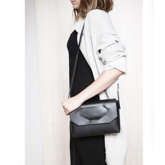 71555cba6b8 Midi - unique minimalist leather bag, vegetable tanned, inspired by ...