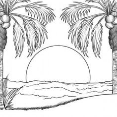 Sunset In An Island Coloring Page Beach Drawing Outline Drawings Palm Tree Drawing
