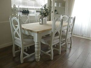 Beautiful Shabby Chic Farmhouse Pine Table And Chairs Hand Painted Ebay Shabby Chic Dining Room Shabby Chic Furniture Diy Shabby Chic Kitchen