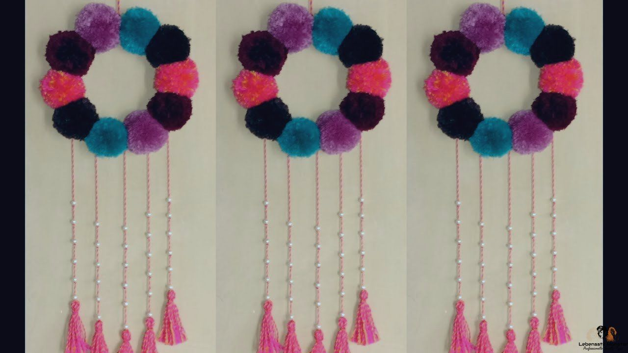 Diy Cara Membuat Hiasan Kamar Dari Pom Pom Awesomelifehack Barangbekas Benangrajut Benangwol Bolahias How To Make Ornaments Creative Crafts Crafts