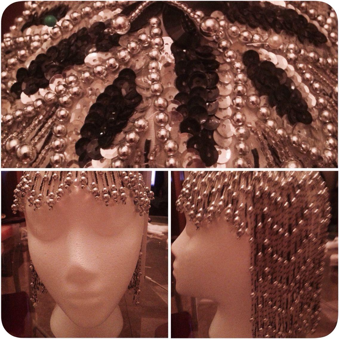 Black & Silver sequined & beaded headdress. $100.00 Joann Tavano