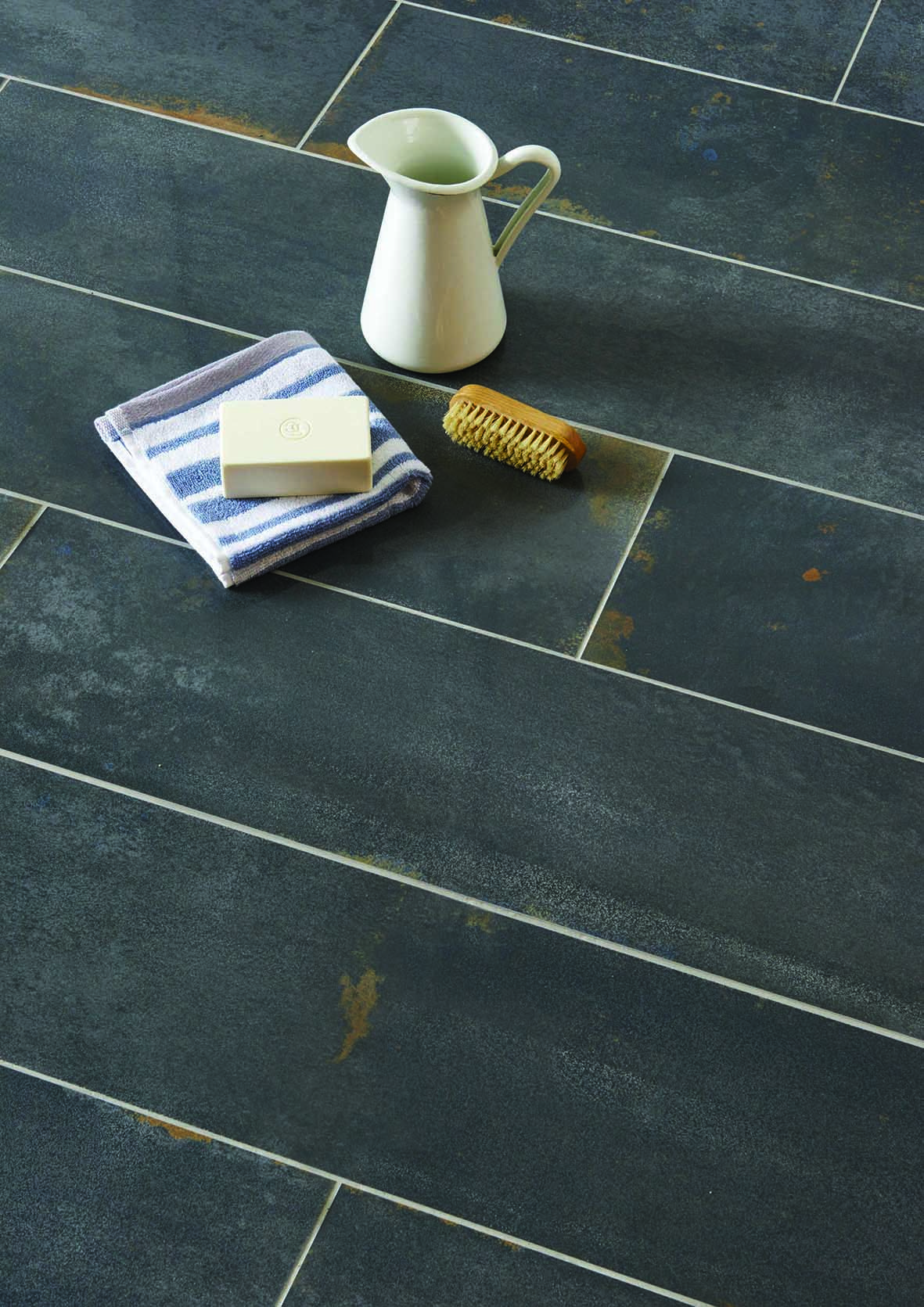 New Oxide Tiles By Original Style Black Latto A Semi Polished Finish On Aged Effect Plank Get Your Shabby Chic Look Now