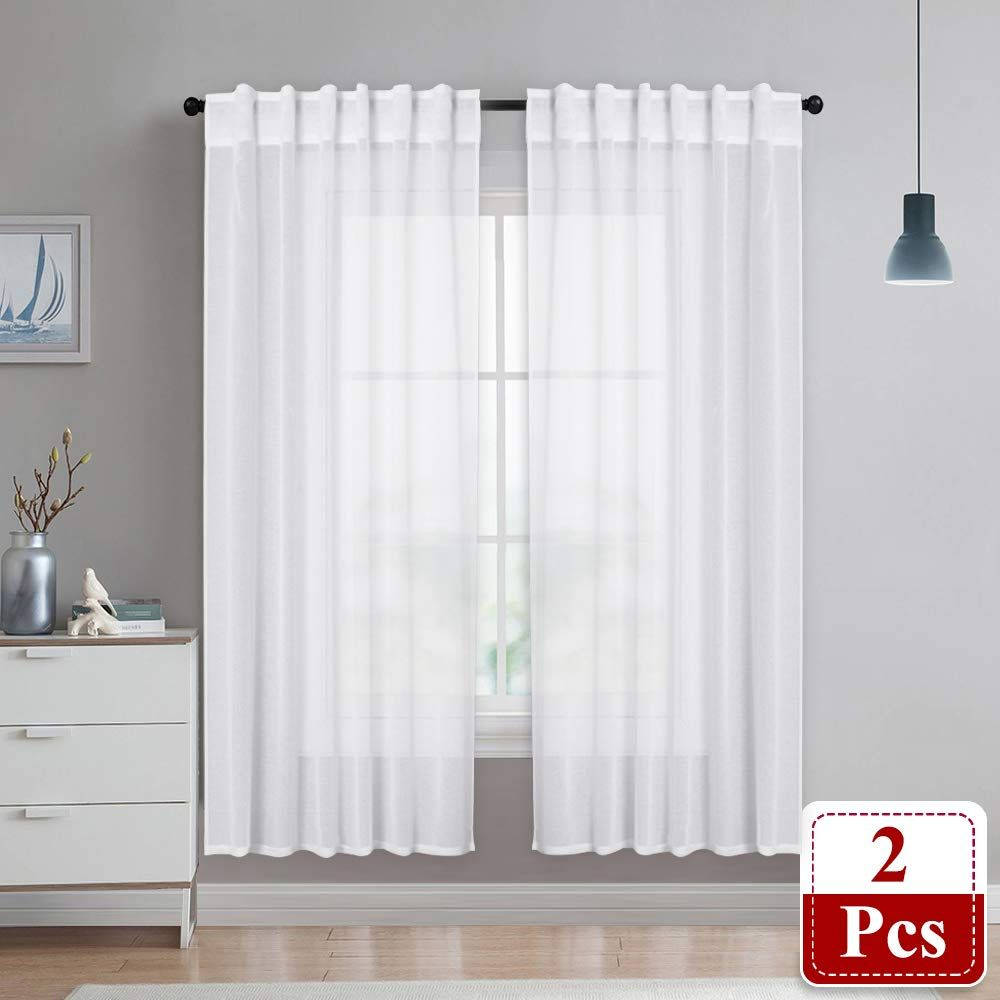 Nicetown Linen Textured Curtain Panels Casual Look Rod Pocket And