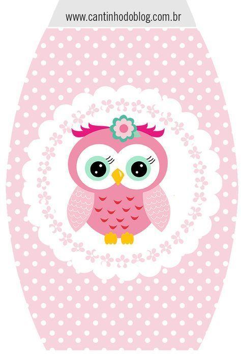 Buhita rosa invitaciones y etiquetas para candy buffet - Disfraces de buhos ...