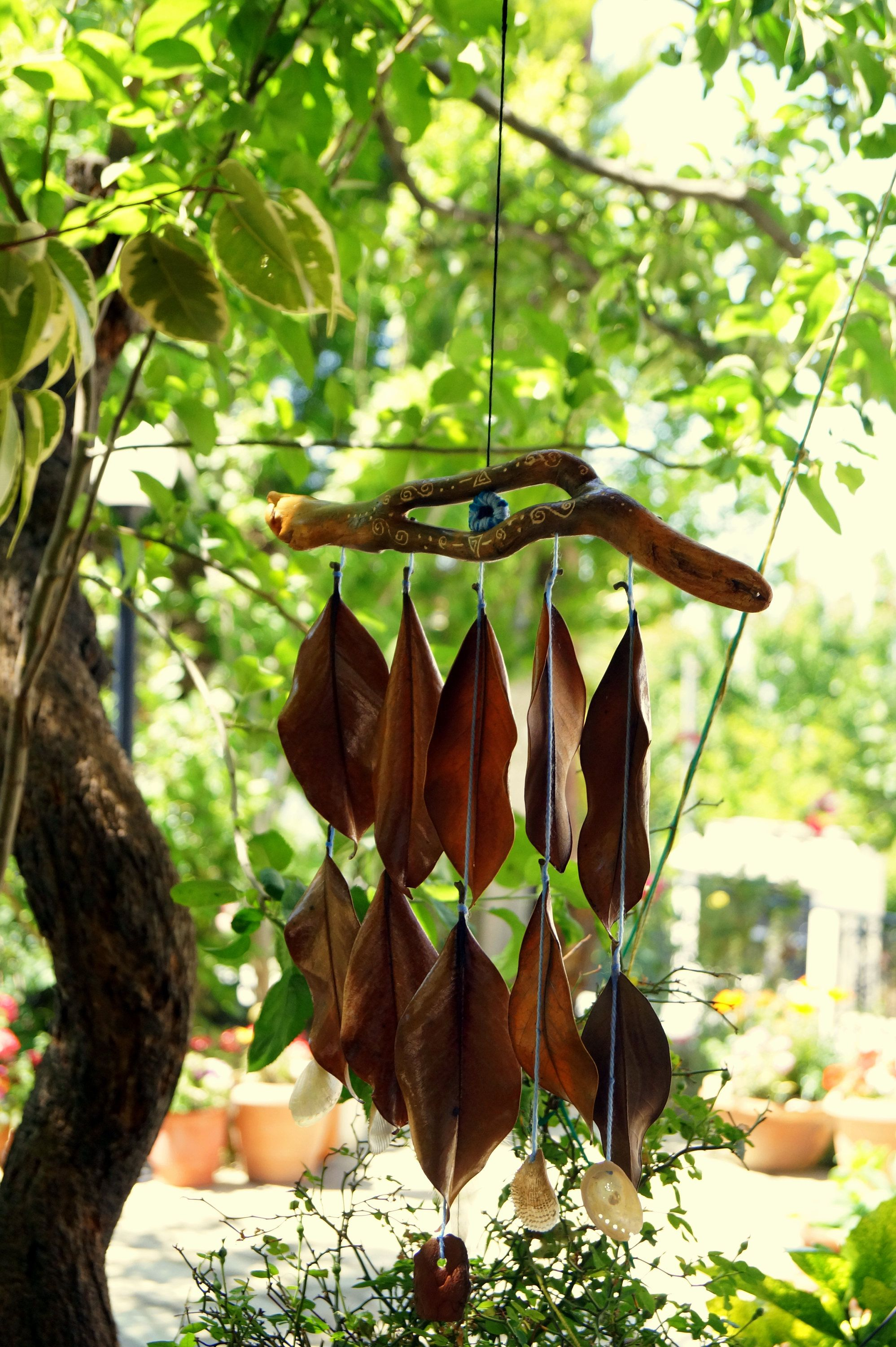 Driftwood natural materials wind chime sea shells patio decor blue ...