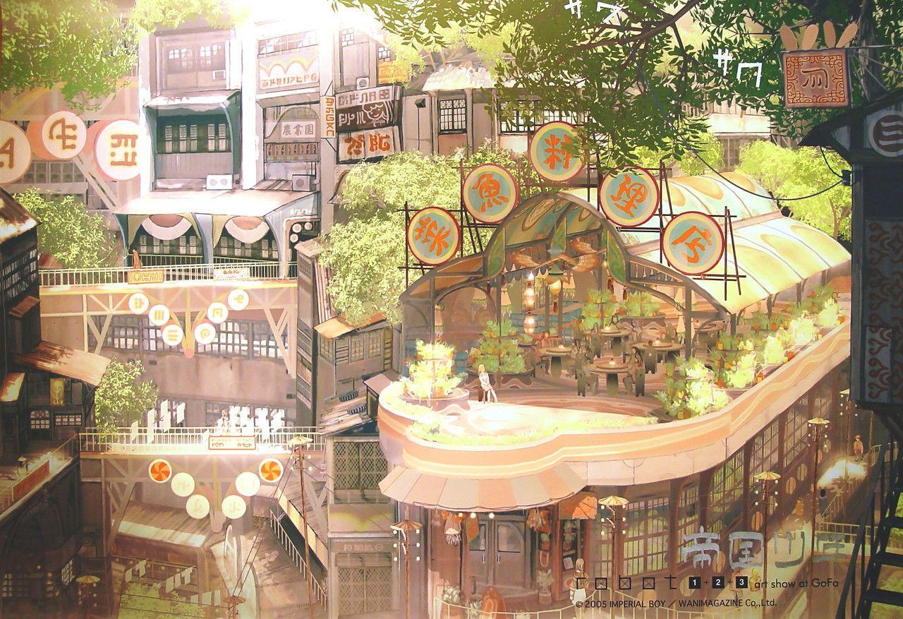 帝国少年 Google 検索 街 イラスト 壁紙アート コンセプトアート