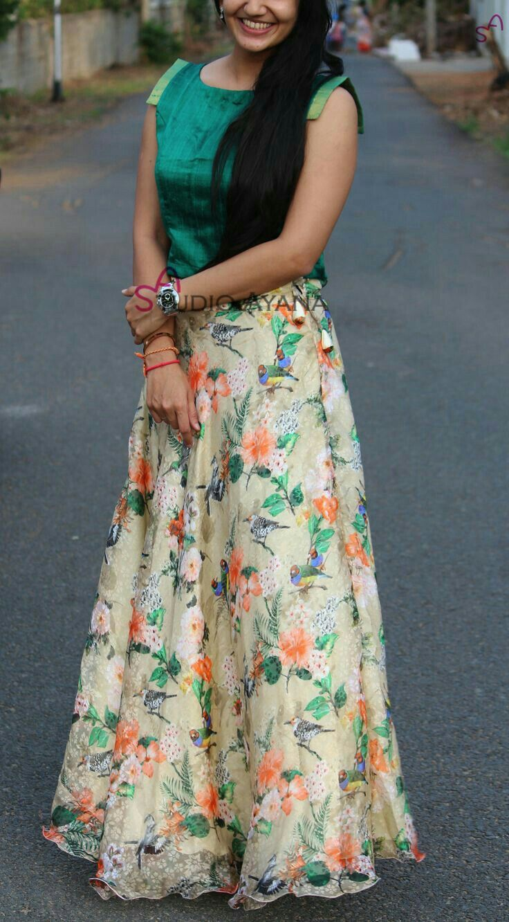 fec343bc62 Short green top and long skirt | skirts and lehengas | Dresses ...