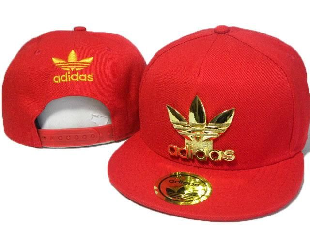 Mens Adidas The Adidas Original Gold Metal Logo Novelty Trending Fashion  Snapback Cap - Red 19a6769be07
