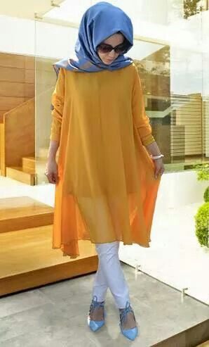 Flowing yellow top and a periwinkle blue hijab