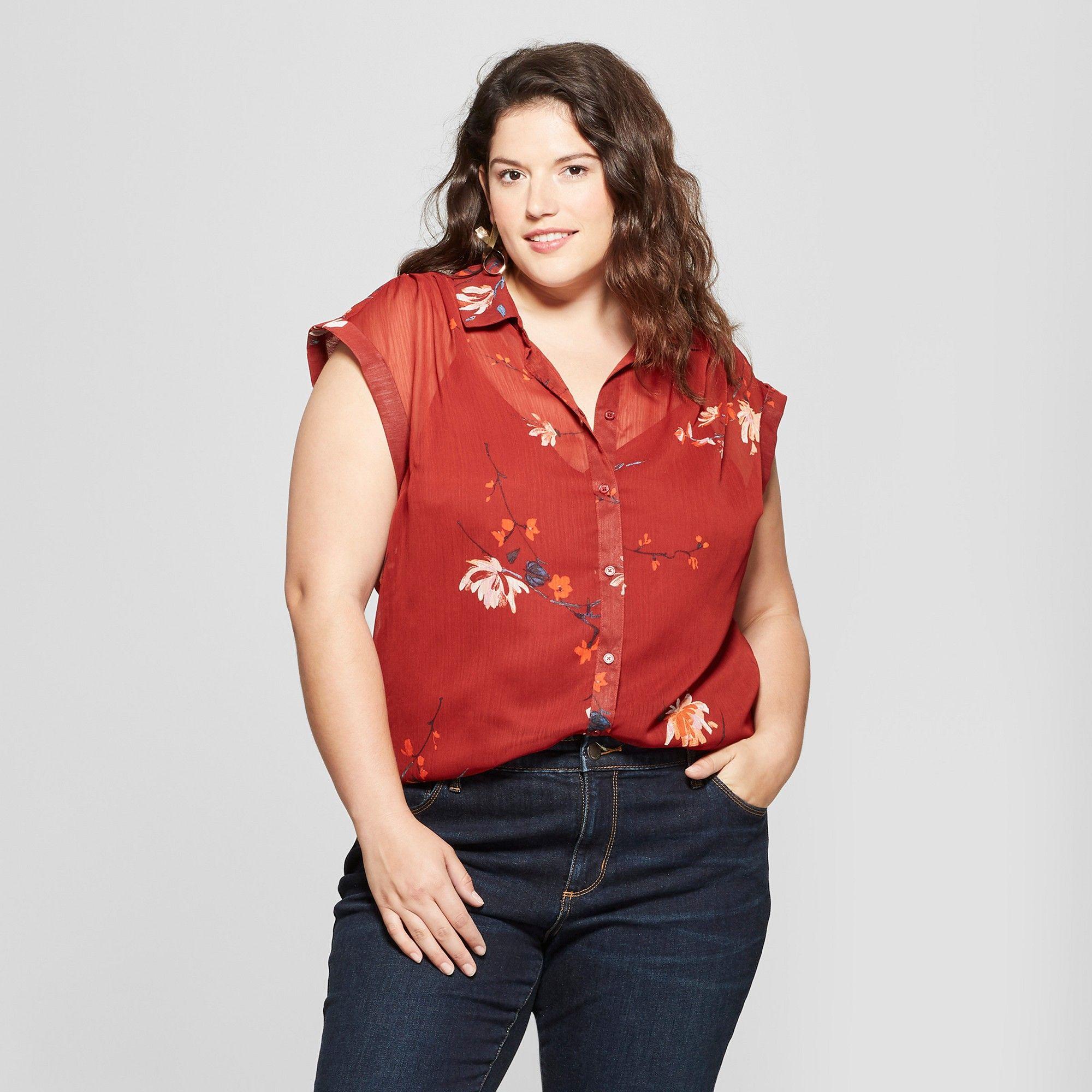 587002eab919b Women s Plus Size Floral Print Button-Down Short Sleeve Shirt - Ava   Viv  Red 2X