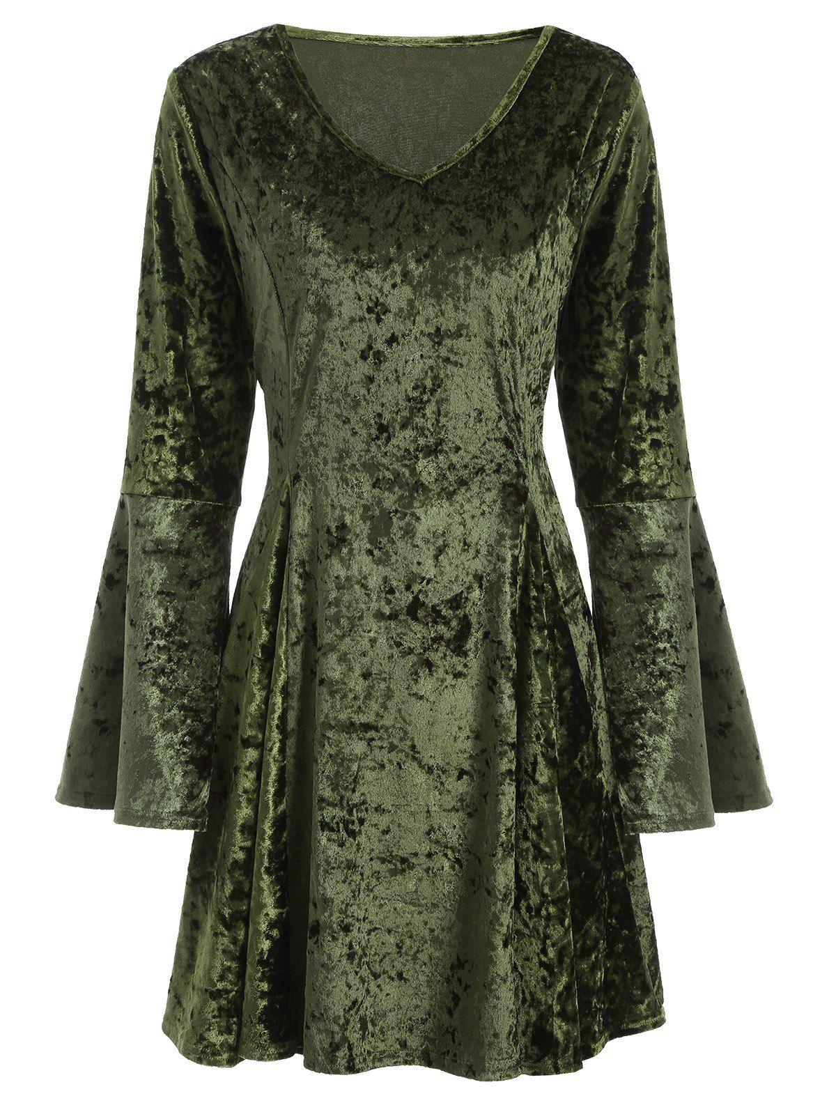 V neck bell sleeve velvet skater dress Платья pinterest velvet