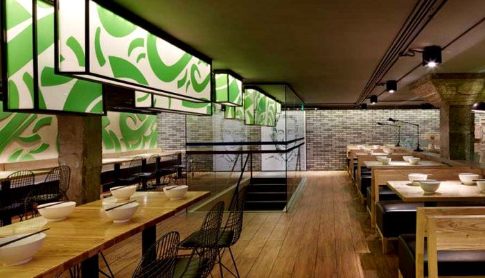 Minimalistic Asian Restaurant With Fresh Green Elements Alldreamhome Modern Design Projects