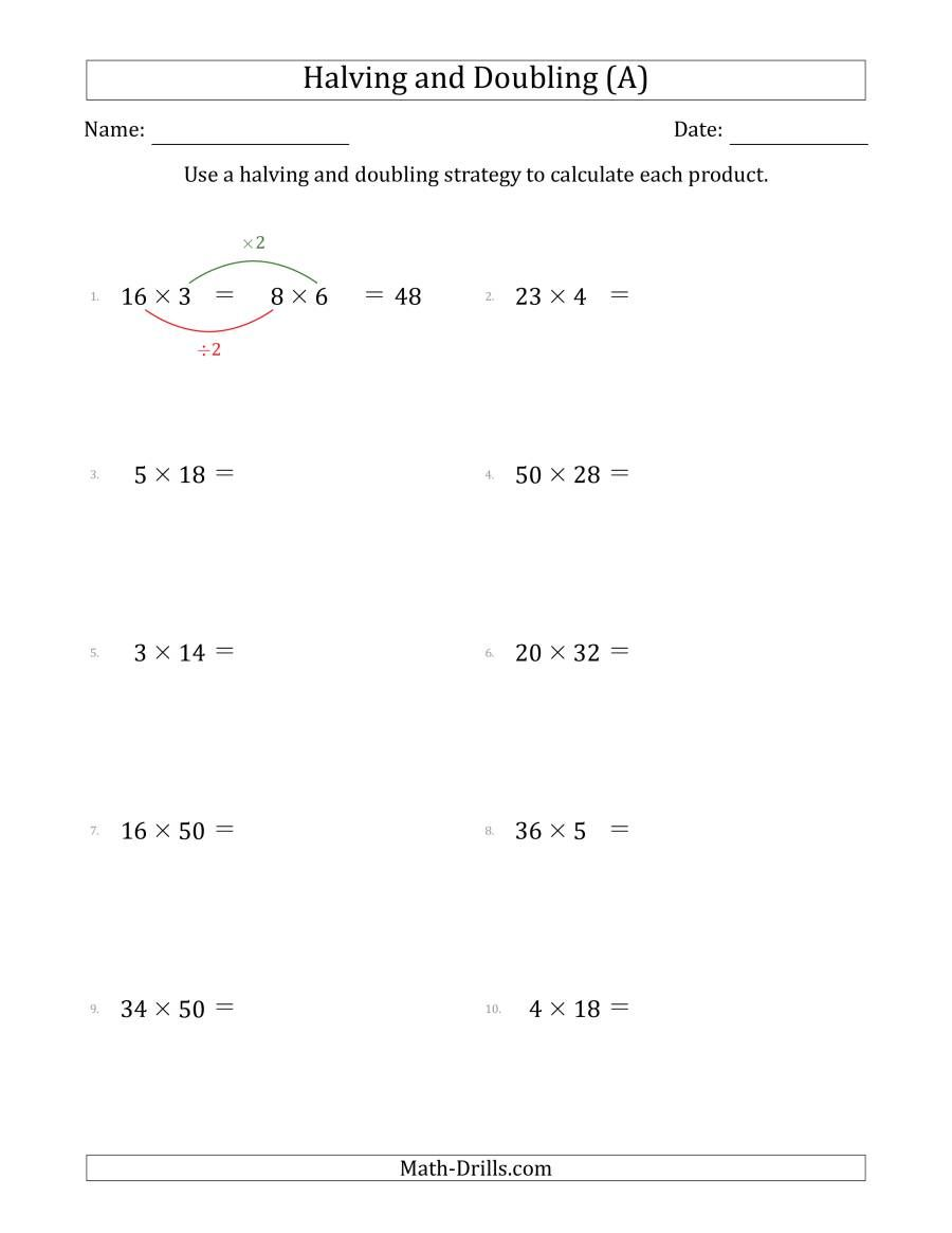 The Halving And Doubling Strategy With Easier Questions A Math Worksheet From The Multi Multiplication Facts Worksheets Pre Algebra Worksheets Math Worksheet