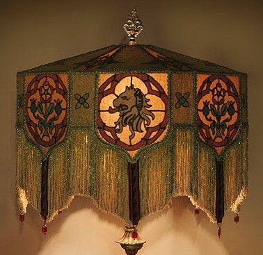 Heraldic castle floor lamp lampshade handmade gothic 20s 1918 boho heraldic castle floor lamp lampshade handmade gothic 20s aloadofball Image collections
