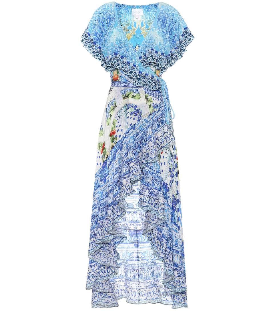 Printed silk wrap dress Camilla n6Ep78a