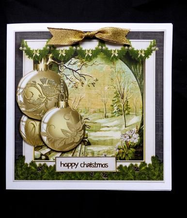Cardtopper Vintage Christmas Bauble Gold 465  on Craftsuprint designed by Gertraud Lueckel - made by Marion Enefer - Lovely design for Christmas card.Printed, cut out and attached base to my card blank. Added layers and the supplied blank greeting panel To complete made a 'knot' bow with gold glitter ribbon and added a gold peel off greeting. Make a wonderful card. - Now available for download!
