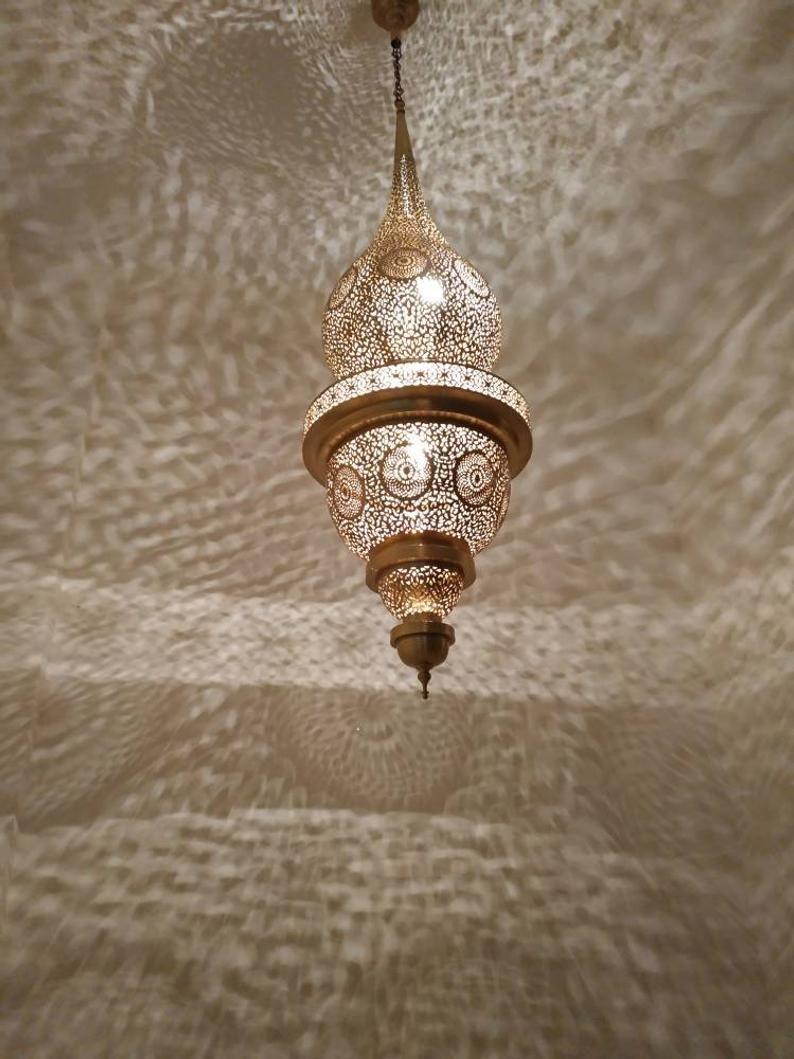 Large Lamp Moroccan Pendant Light Brass Chandelier Antique
