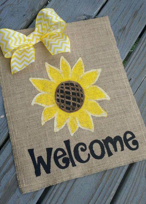Charming Sunflower Burlap Garden Flag // Welcome Sunflower Flag Banner // Fall Yard  Flag By ModernButterfly On Etsy