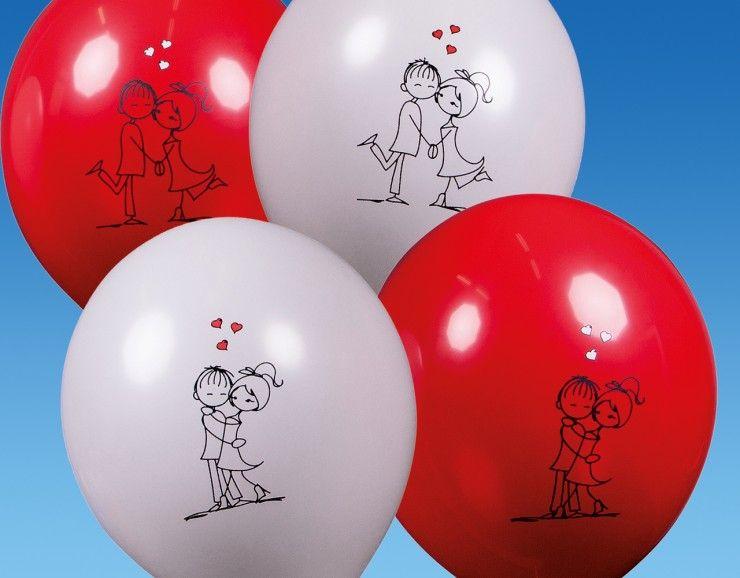 Dekoset Verliebtes Paar 20 Stuck Polterabend Verlobungsfeier Luftballons