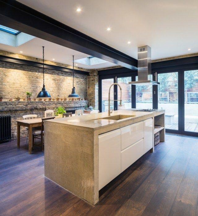 Küchenblock freistehend rustikal  industrial-chic-küche-kochinsel-beton-arbeitstheke-wand-ziegel ...