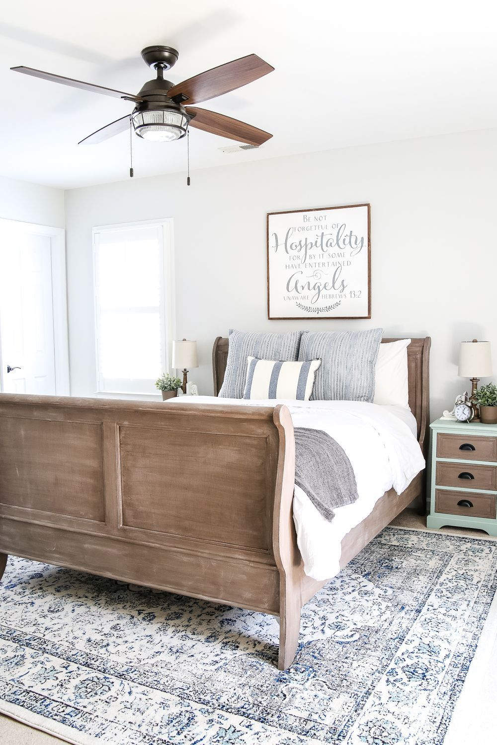 Blue Cottage Style Guest Bedroom Makeover Reveal | Pinterest