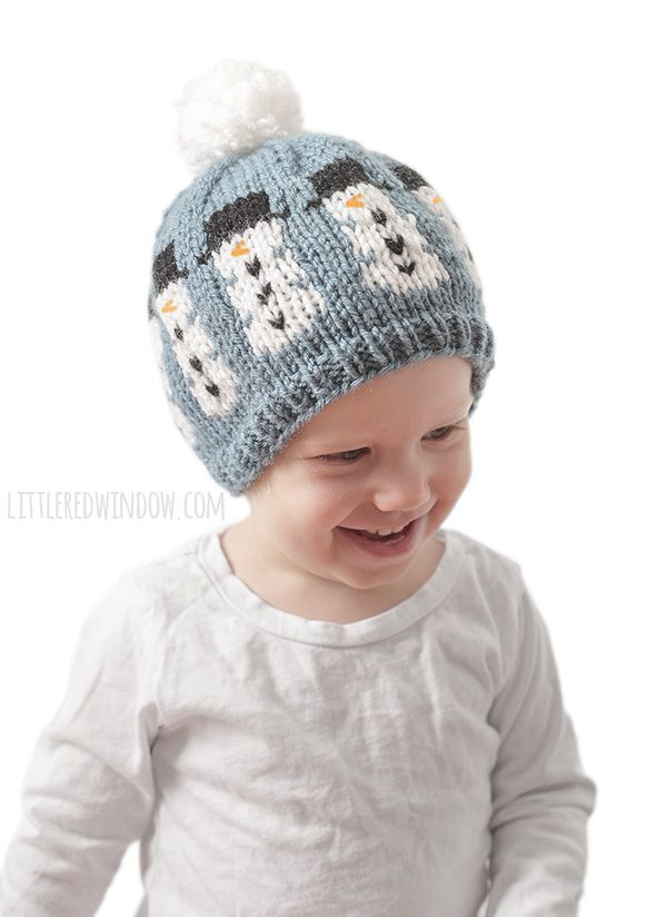 Fair Isle Winter Snowman Hat Knitting Pattern Knit One Purl Two