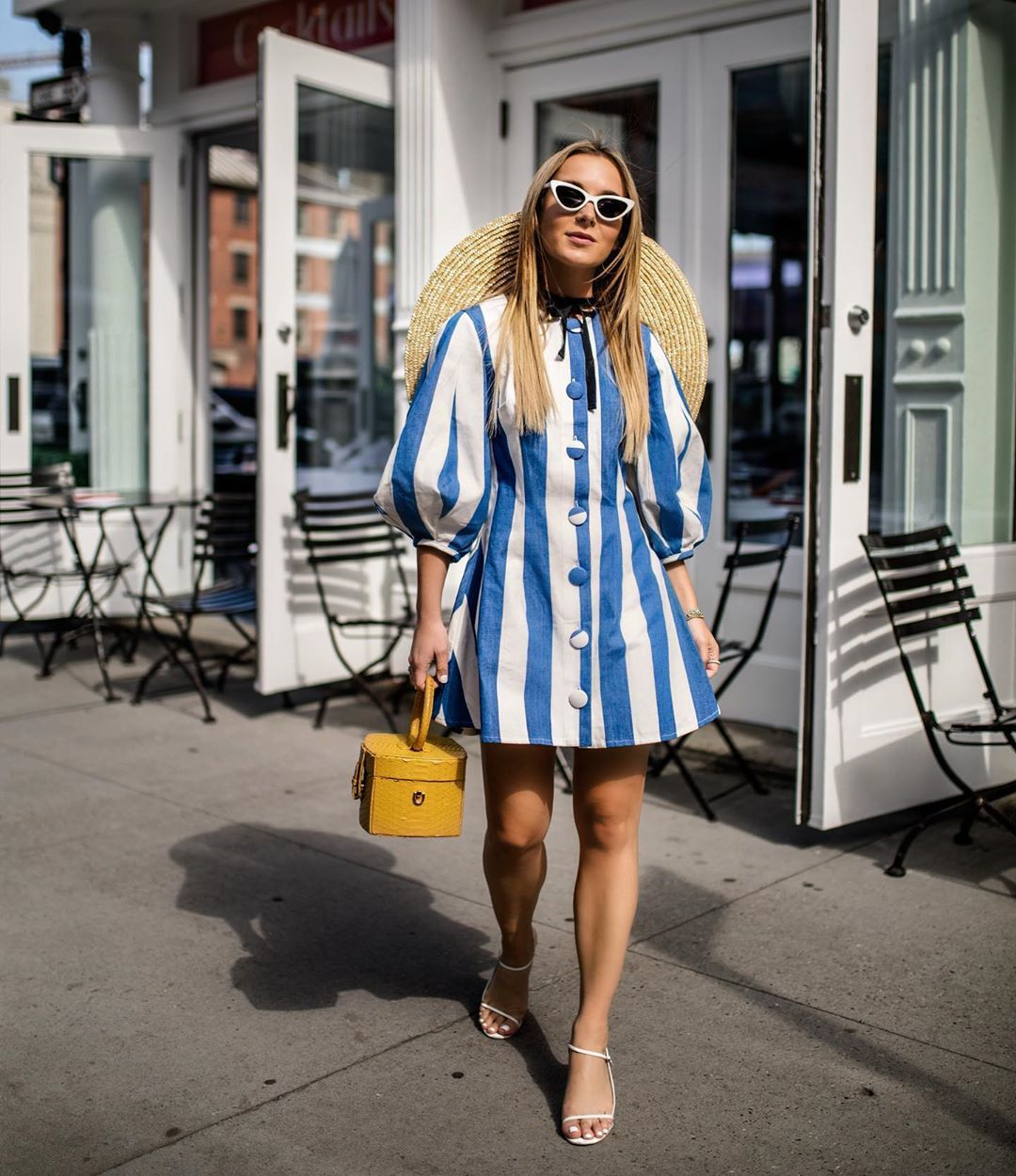 Stripe Dress Outfit Ideas Summer Big Sleeves Dress Summer Chic Summer Dress Ideas Wide Brim Chic Summer Dresses Hamptons Summer Fashion Outfits With Hats [ 1250 x 1080 Pixel ]