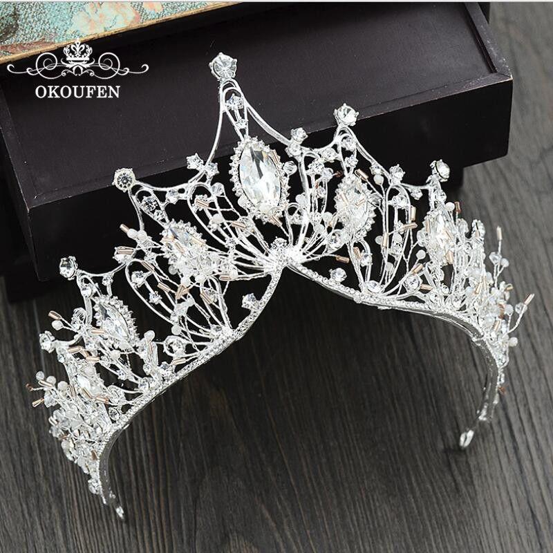 f2960b30a5 Baroque Big Tiaras Luxury Diamond Rhinestone Crowns Headpieces For ...