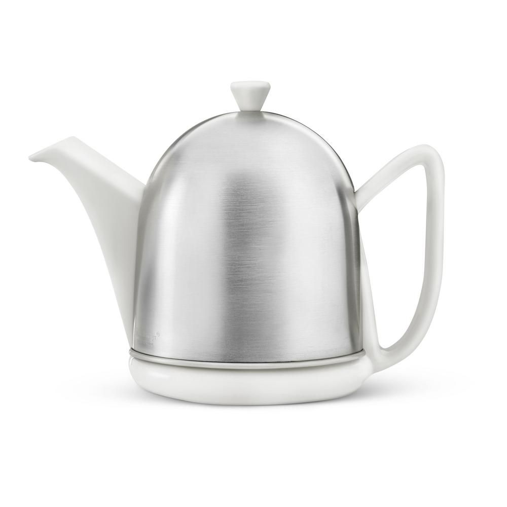 Bredemeijer 34 Fl Oz Teapot Spring White Cosy Manto Teapot With Mat White Matte Tea Pots Ceramic Teapots Glass Teapot