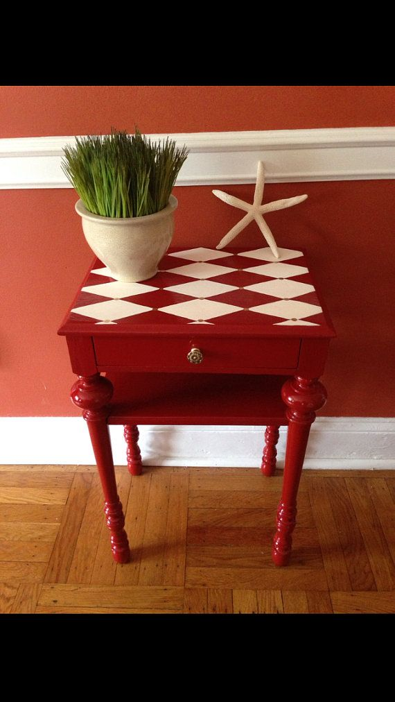 Vintage Accent Side Table Hand Painted by ColorfulHomeDesigns, $120.00