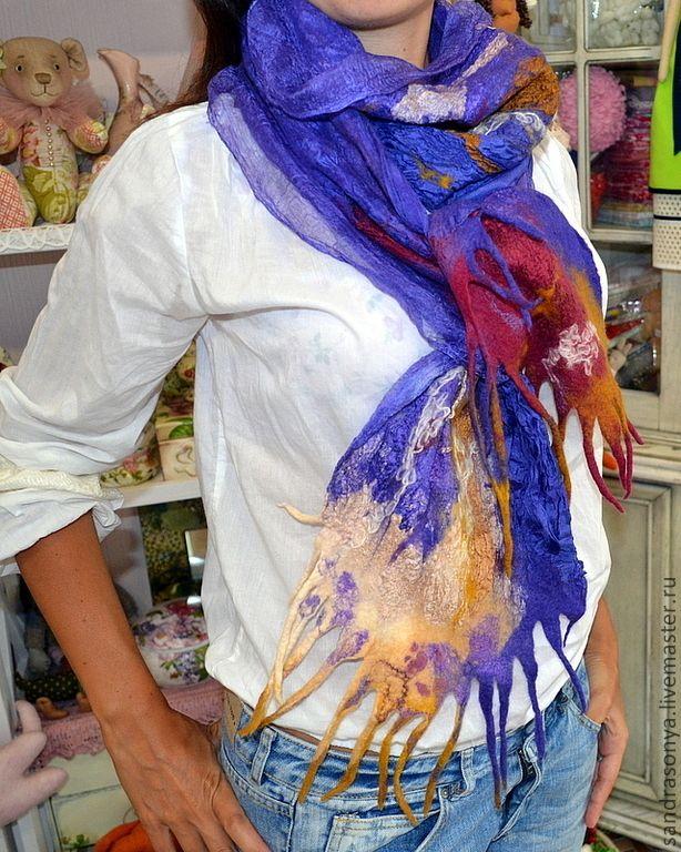 """Купить Валяный шарф на шёлке """"Океанский бриз"""" - валяный шарф, женский шарф, шелковый шарф"""