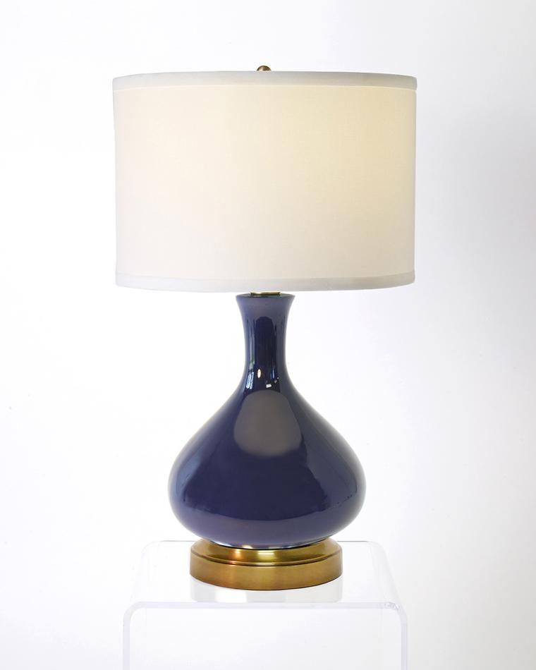 Bartlett Lapis Navy Blue On Brass Cordless Lamp Blue Lamp Blue