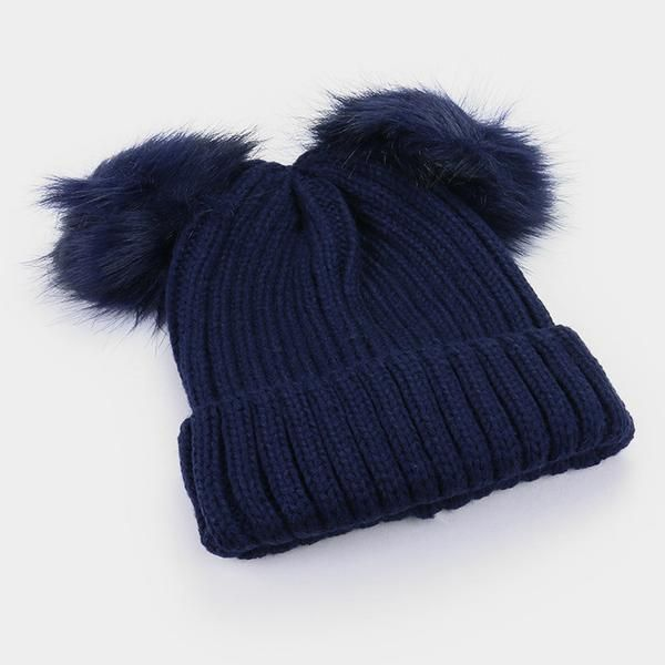 fb54634a785 Double Fur Pom Pom Knit Beanie Hat - Navy - Dempsey   Gazelle - 1 ...
