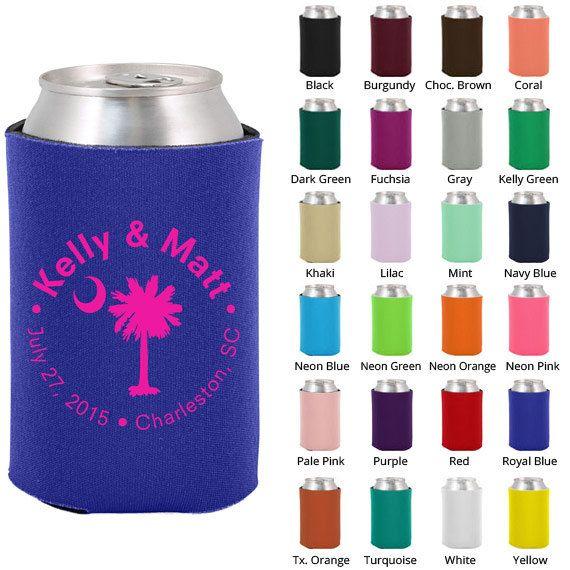 Custom Koozies - Personalized Wedding Favors – Palmetto Tree - Beer ...