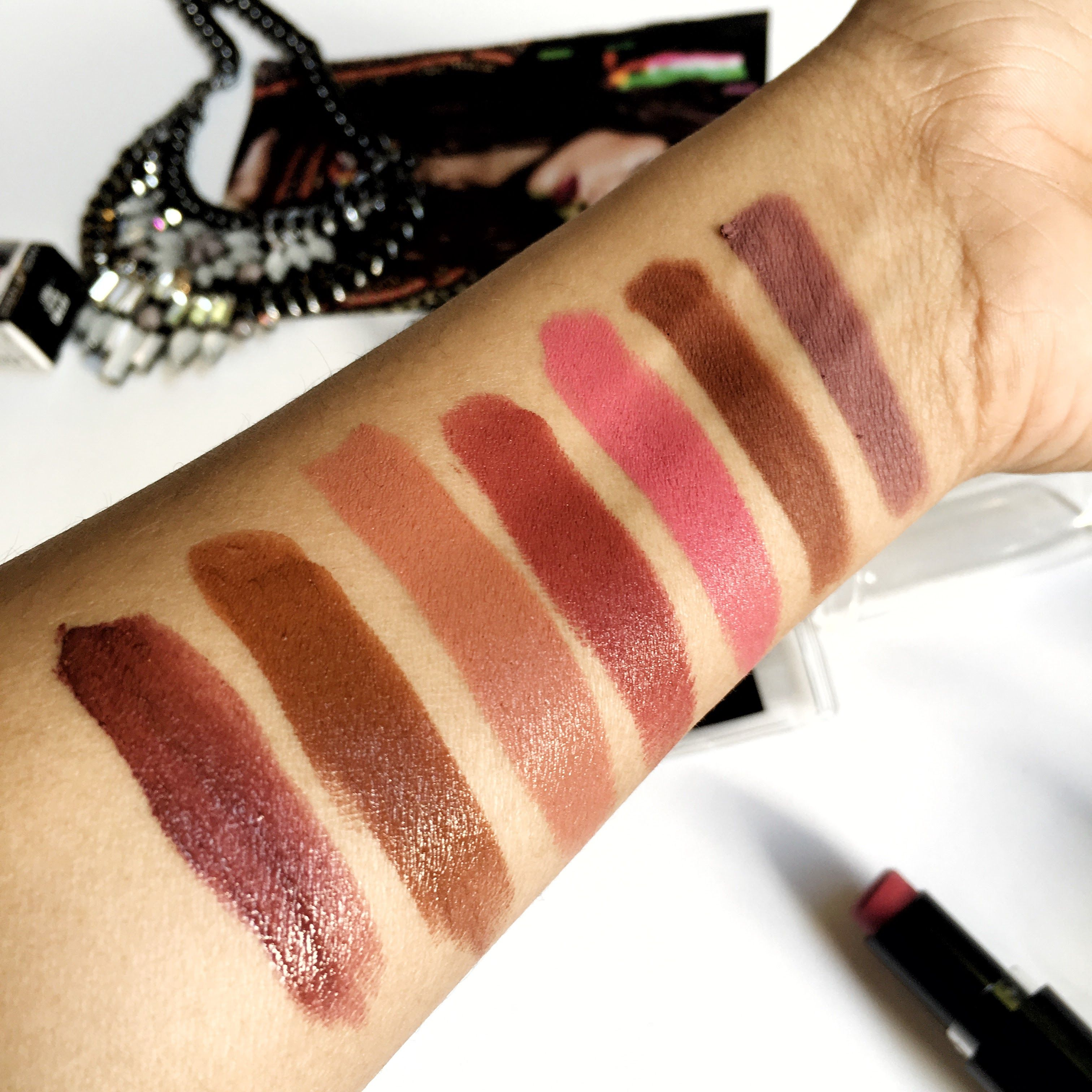 Wet n Wild Lipstick swatches Top to Bottom lip liner in Plumberry Chestnut