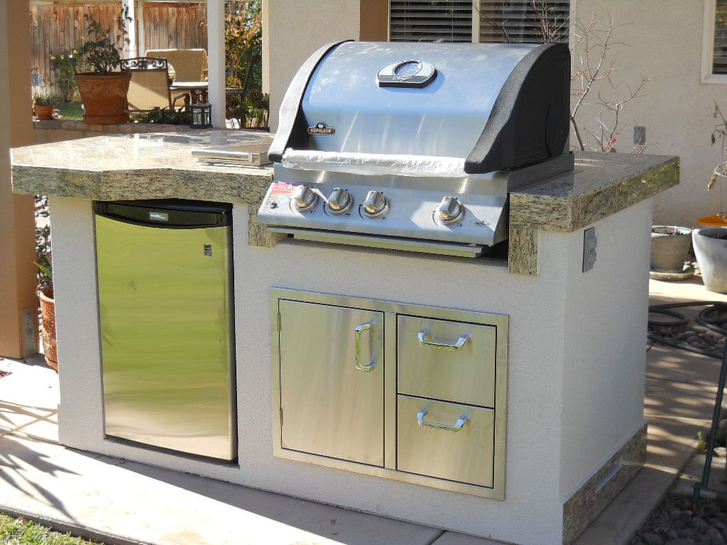 Bbq island with napoleon mini fridge door drawer for Outdoor kitchen without grill