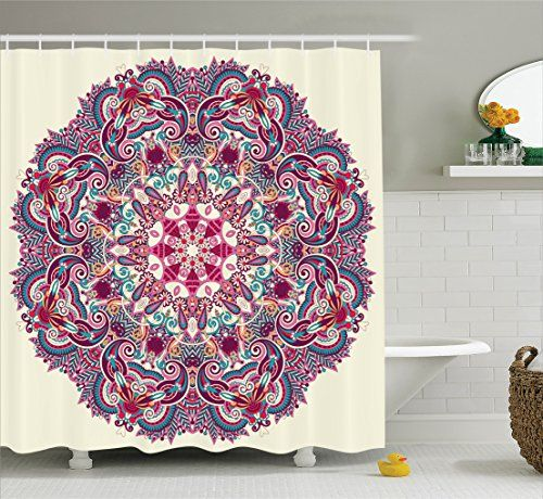 Mandala Shower Curtain Decor By Ambesonne Detailed Pattern With Flower And Leaves Bohemian Theme Indian