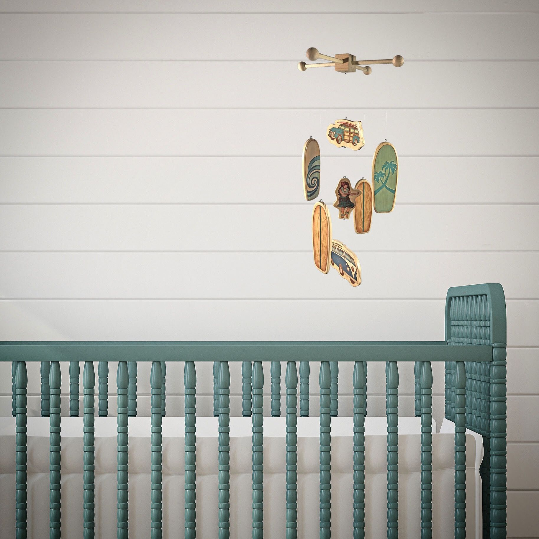 Handmade Wooden Surfboard Baby Mobile Beach And Surf Decor