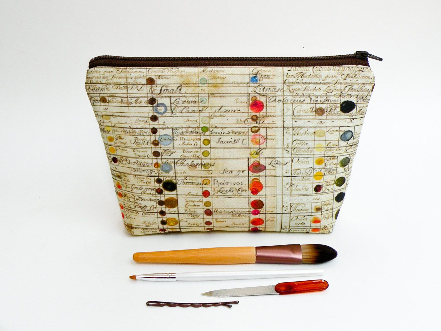 Vintage Color Guide Makeup Bag Large Pencil Case by StarlightBags