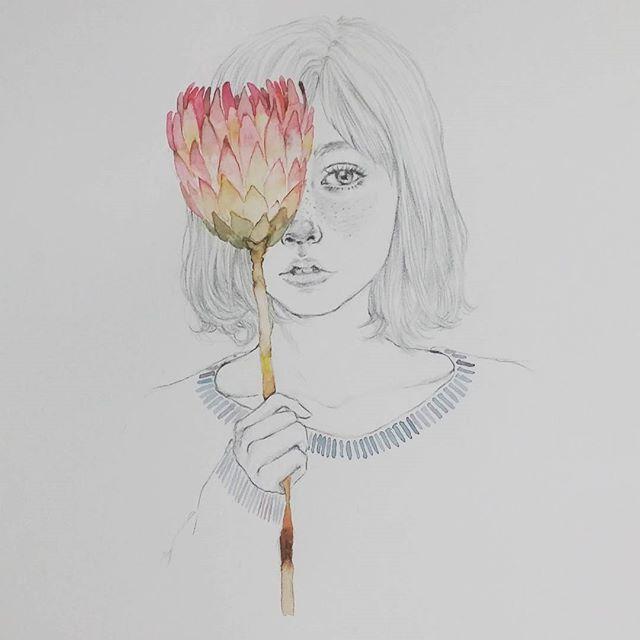 넘 예쁜꽃 발견^^이름이 뭘까?  image_pinterest #watercoulr #watercolor #painting #flower #girl #lovely #pencildrawing #drawing #illust #illustration #pencil #draw #art #design #드로잉 #일러스트 #손그림 #sweet #sketch #연필그림 #연필 #소녀 #감성 #꽃 #핸드메이드 #취미