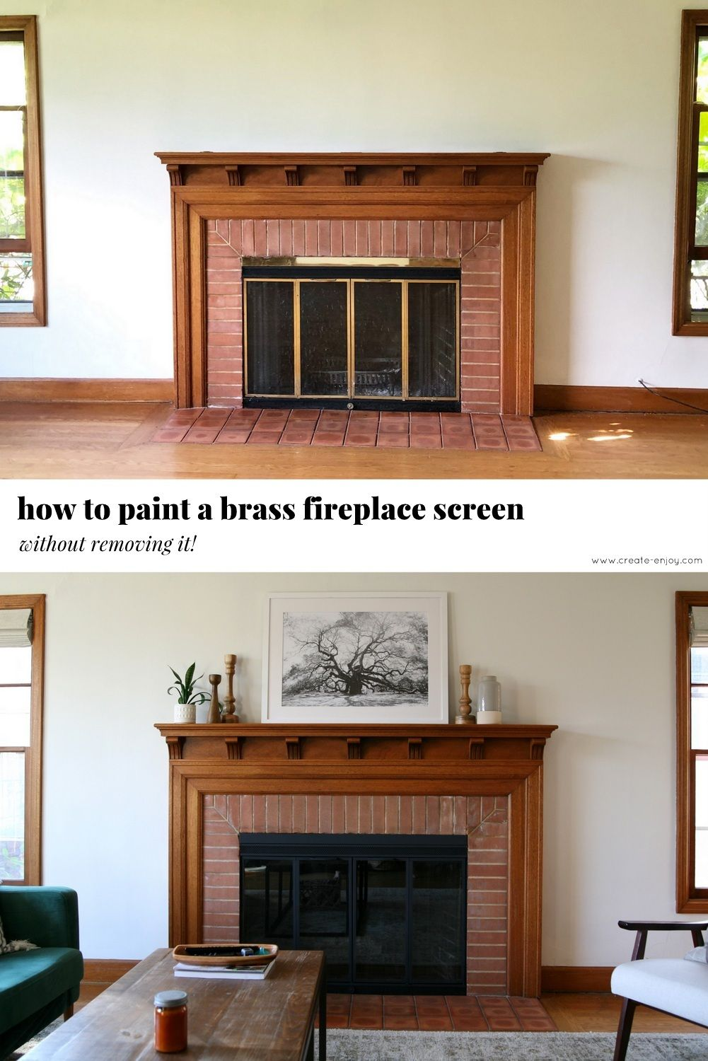 How To Paint A Brass Fireplace Screen Without Removing It